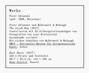Eintrag zu Uklanski auf der Website der documenta 14, abgerufen 23.6.2017