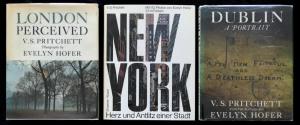 Die drei Stadtporträts von Evelyn Hofer in unterschiedlichen Ausgaben: London (1962), New York (1965), Dublin (1967)