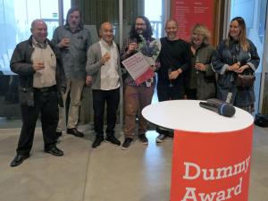 David Solo, Jesper Rasmussen, Kensaku Seki, Stijn van der Linden, Jens Schwartz, Beata Cegielska und Daria Tuminas nach der Bekanntgabe des Siegers beim Dummy Award 2018