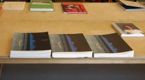 """Mitgebracht von Nina Worren: Damian Heinischs Buch """"45"""", links der originale Dummy, in der Mitte die selbstpublizierte Kleinauflage, rechts die Verlagsauflage von Mack"""